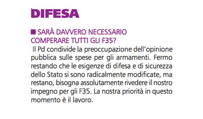 Dall'opuscolo L'Italia giusta pubblicato dal Pd in campagna elettorale, pagina 12